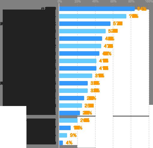 仕事内容:84%、給与:75%、派遣先や配属部署の環境・雰囲気:57%、勤務時間:52%、求められる経験・スキル:48%、交通費:47%、契約期間:45%、勤務日数:41%、社員との人間関係:41%、勤務曜日:37%、周りの派遣スタッフとの人間関係:32%、残業時間:32%、派遣会社のフォロー:28%、上司の人柄:25%、福利厚生:23%、仕事のつきやすさ:20%、スキルアップ:13%、派遣の仕組み:9%、その他:4%