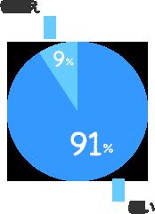 はい:91%、いいえ:9%