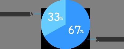 満足している:67%、満足していない:33%