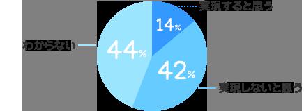 実現すると思う:14%、実現しないと思う:42%、わからない:44%